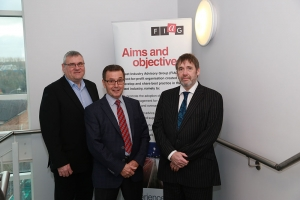 FIAG chairman Geoffrey Bray flanked by Graham Bellman, FIAG founder and group fleet director, Travis Perkins (left), and David Rawlings, director, BCF Wessex (right).
